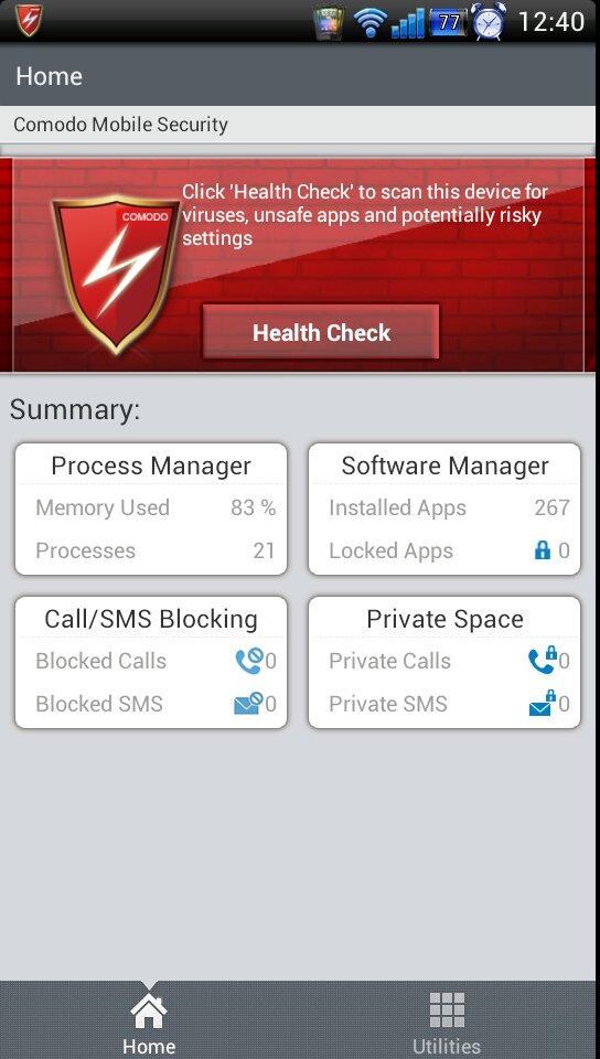 Interface Comodo Mobile Security