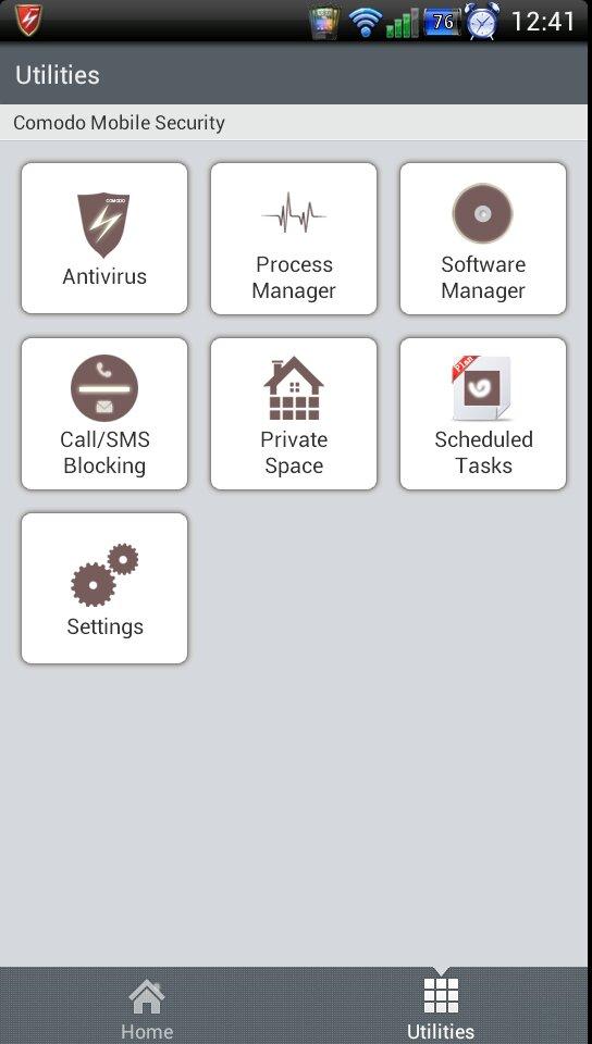Menu Comodo Mobile Security