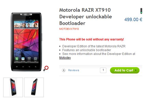 Motorola Droid RAZR Developers Edition