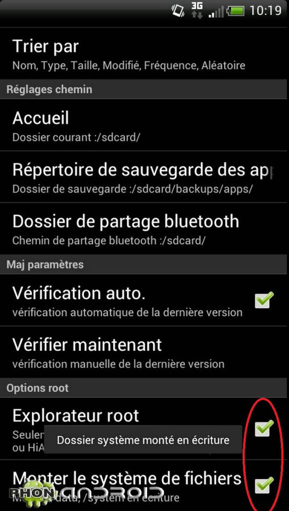 Activation droits root