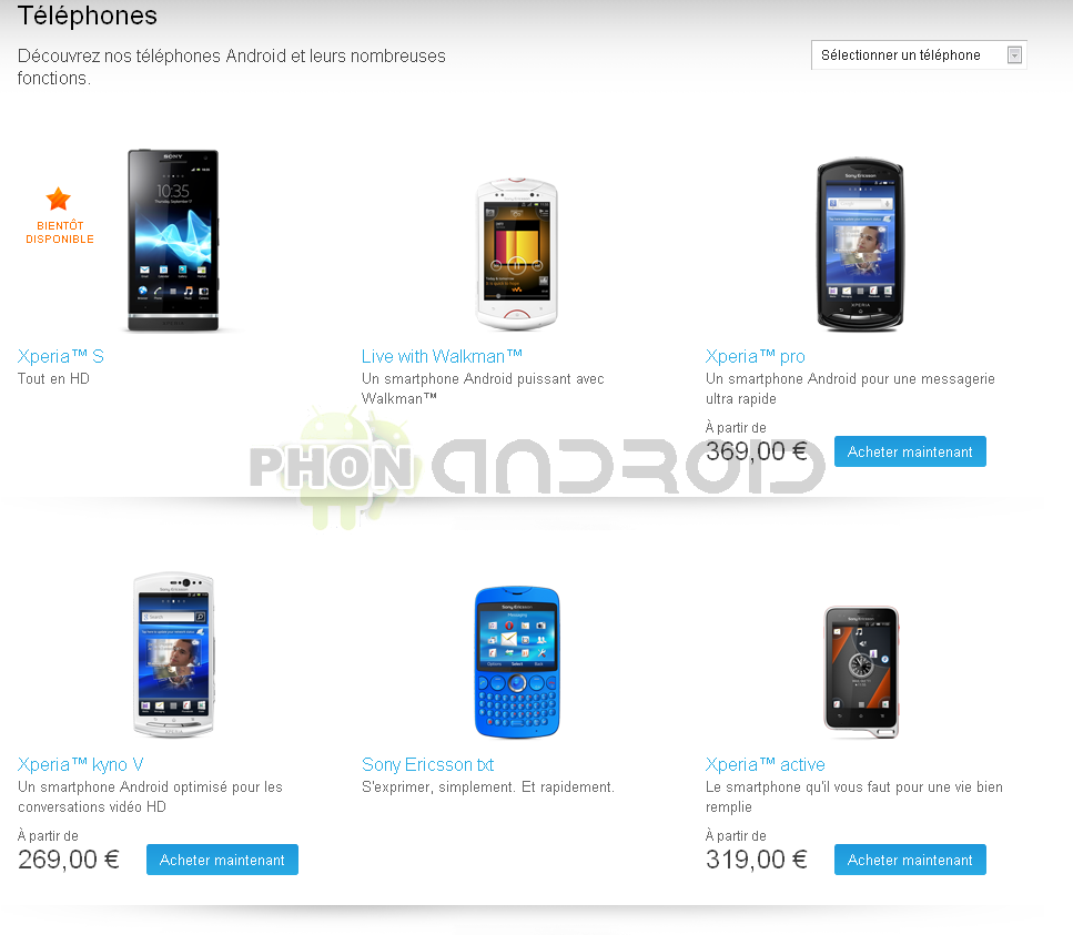 Sonymobile page mobiles