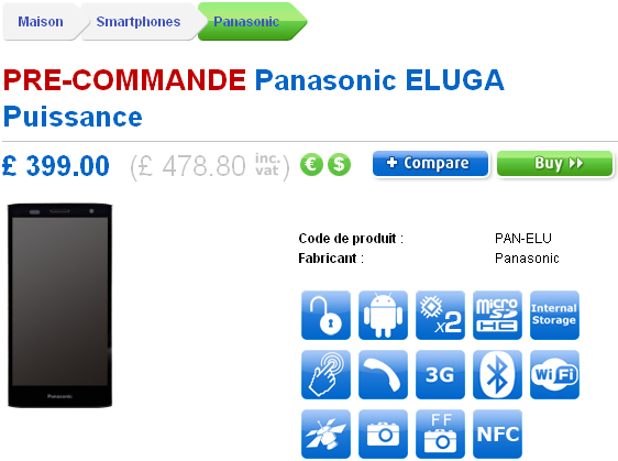 Panasonic Eluga Power pre-commande