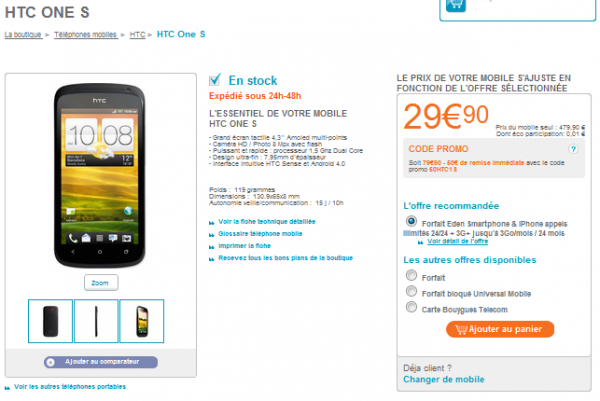 HTC One S bouygues telecom