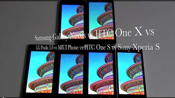 HTC One X vs One S vs LG Prada 3.0 vs Sony Xperia S vs Samsung Galaxy Nexus vs MIUI Phone