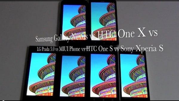 HTC One X vs One S vs LG Prada 3.0 vs Sony Xperia S vs Samsung Galaxy Nexus vs MIUI Phone