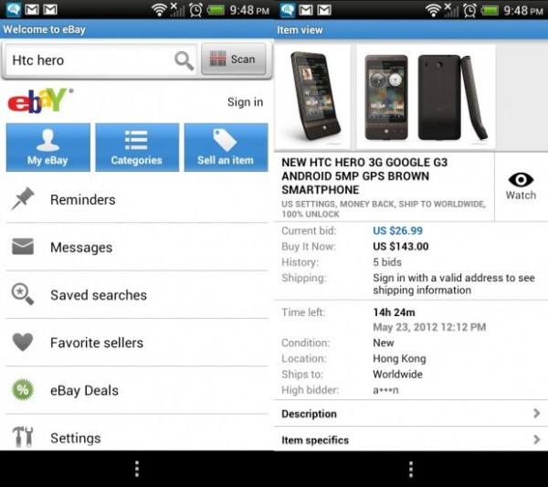 Ebay application Android