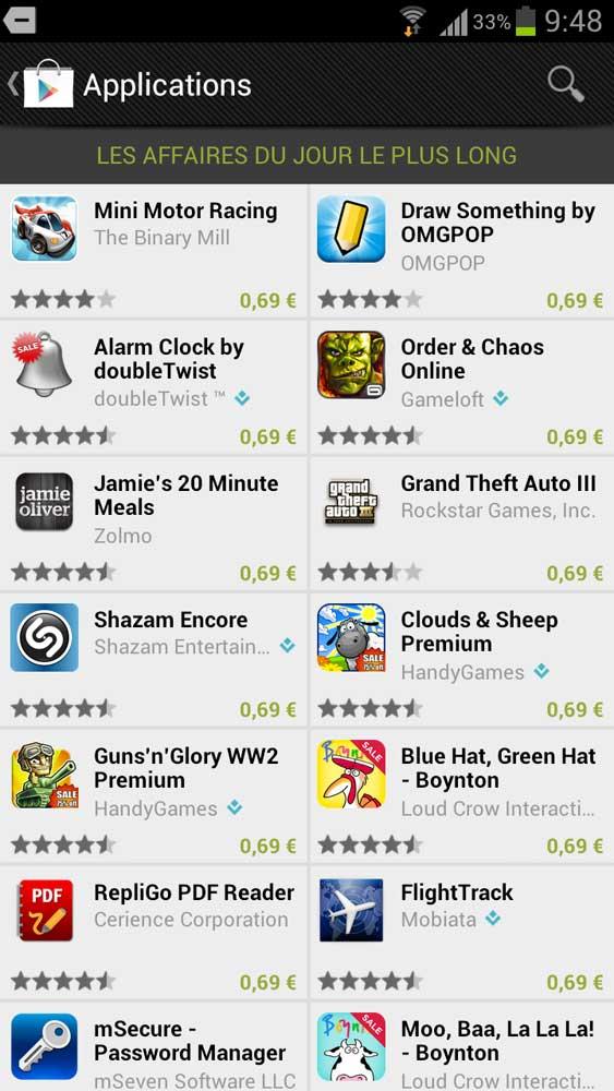 Le jour le plus long sur le Play Store