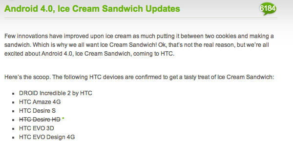 HTC Desire HD ICS