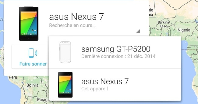Android Device Manager appareils