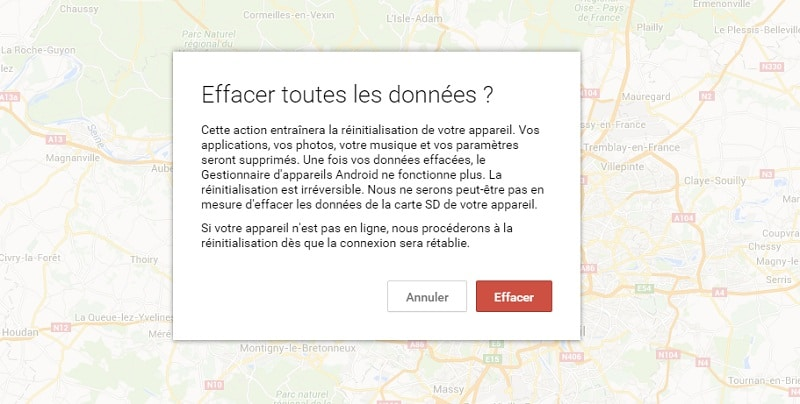 Android Device Manager effacer