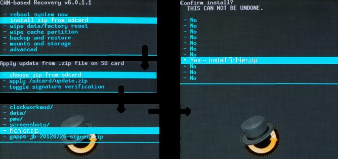 Cyanogenmod CWM recovery avec installation de zip