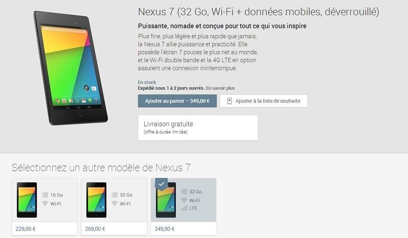 Nouvelle Nexus 7 4G