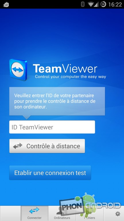 Teamviewer et l'interface sous Android