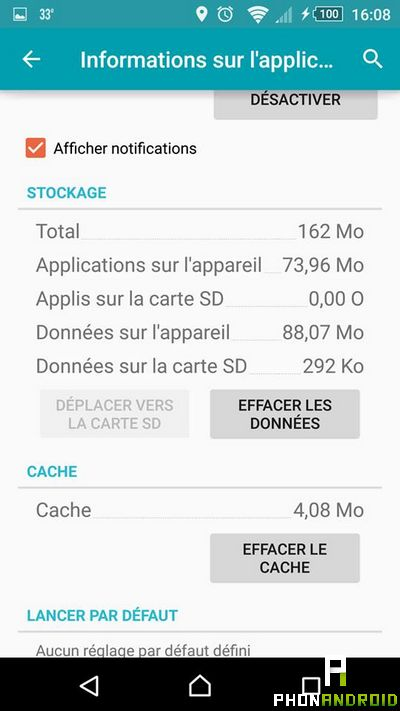 vider cache application