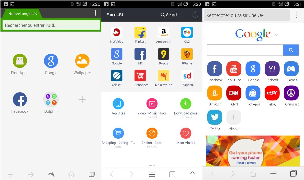 Comparatif de navigateurs Internet Android avec Dolphin et CM Browser