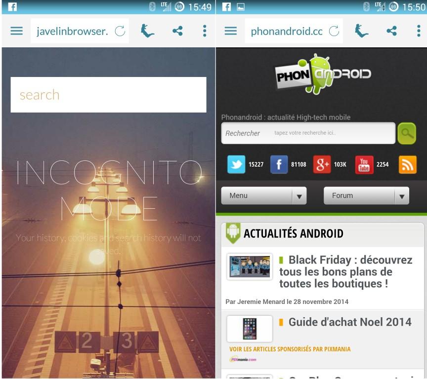 Javelin et le mode incognito navigateur Internet Android
