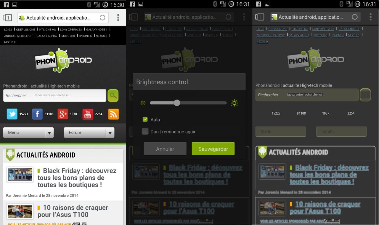 Next Browser et le mode nuit navigateur Internet Android