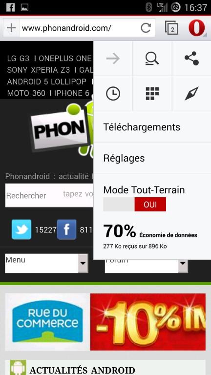 Opera et le mode tout-terrain navigateur Internet Android
