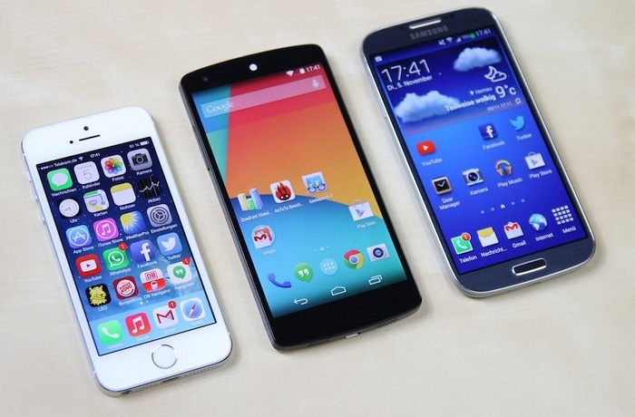 Nexus 5 Nexus 4 Galaxy S4 iPhone 5S
