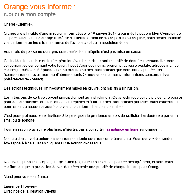 mail orange piratage