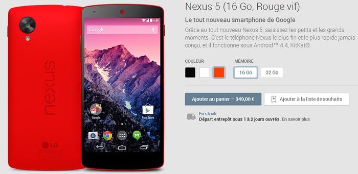 nexus 5 rouge play store