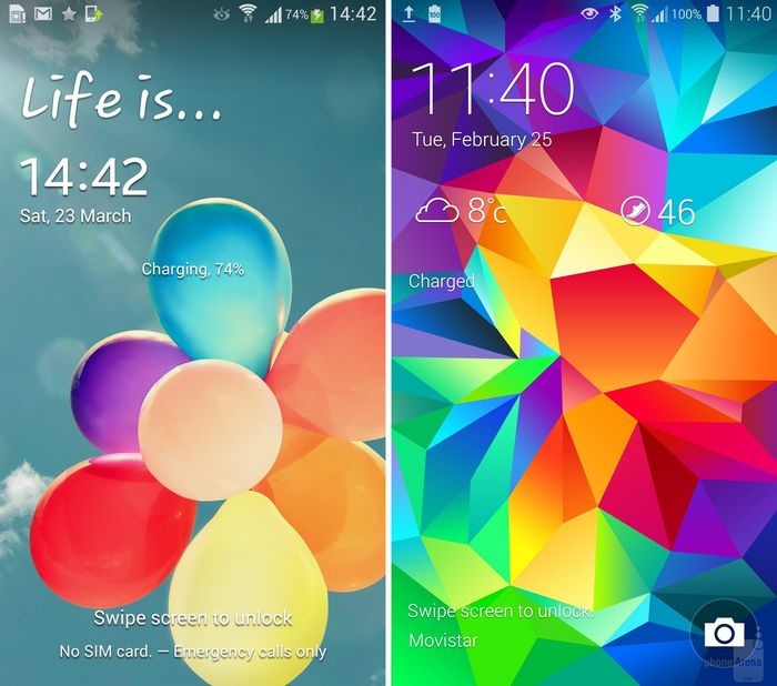 galaxy s4 vs galaxy s5 lockscreen