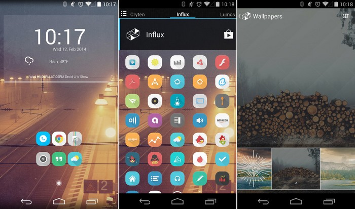 influx icones screens