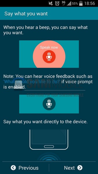 screen samsung s voice
