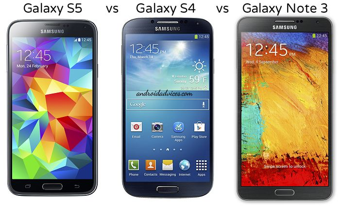Galaxy S5 vs Galaxy S4 vs Note 3