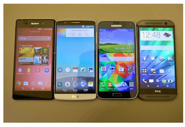 Comparatif des écrans du Galaxy S5 vs HTC One M8 vs Xperia Z2 vs LG G Pro 2