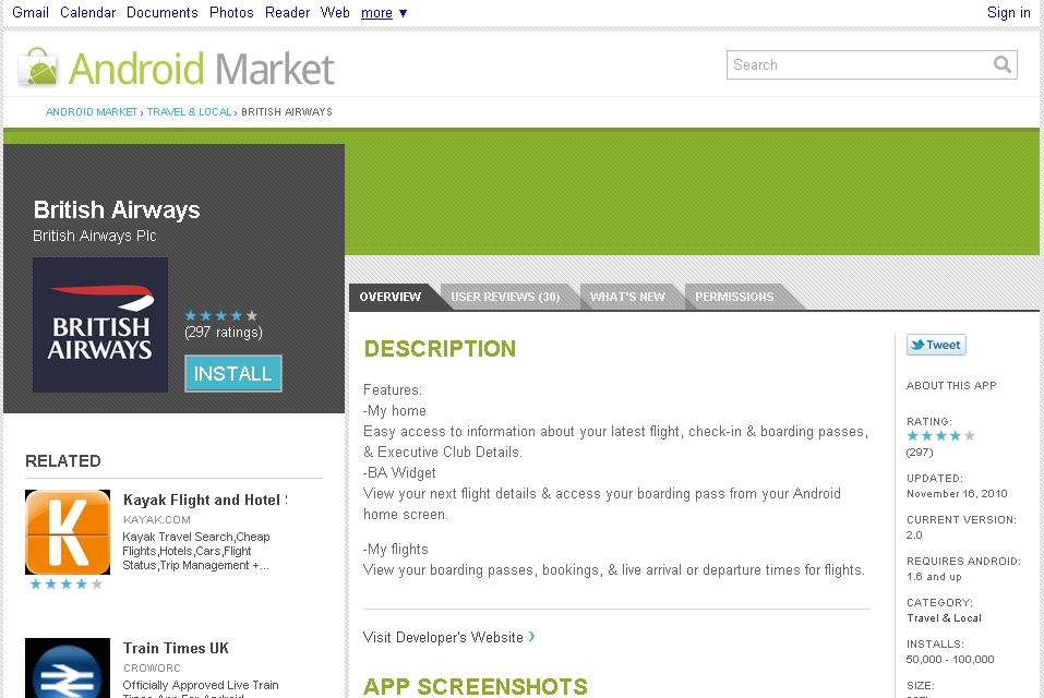 Android Market en version web