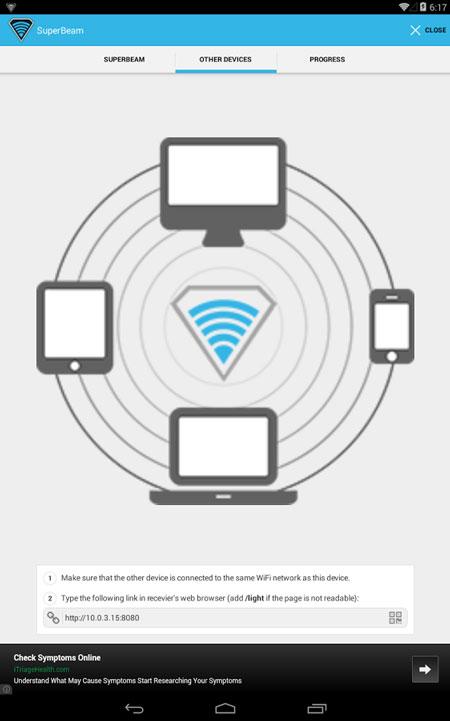 wifi direct application super beam