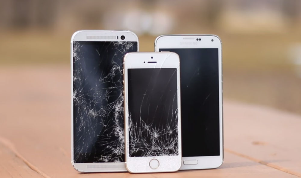 galaxy s5 iphone 5s htc one m8 crash test