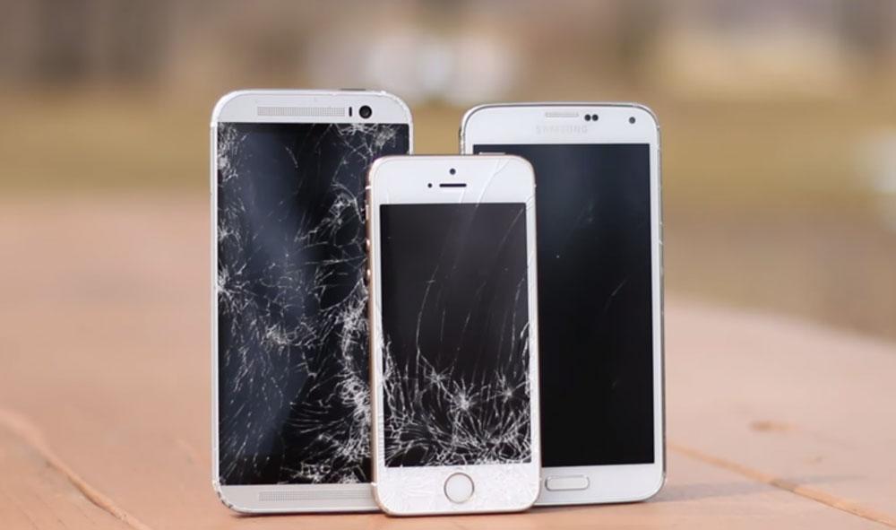 galaxy s5 iphone 5s htc one m8 crash test