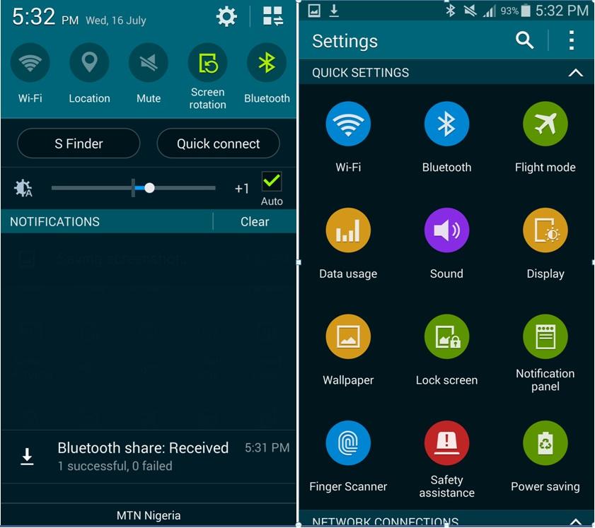 Galaxy S5 et notifications