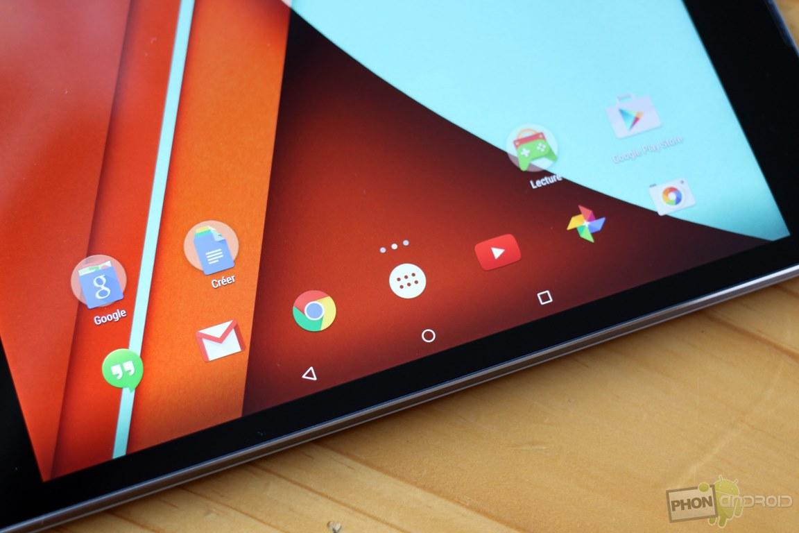 Nexus 9 les applis et l'OS