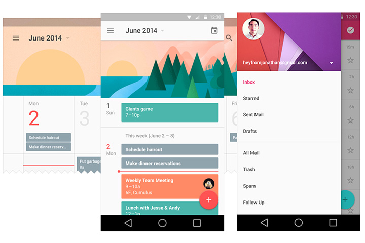 material design touches navigation