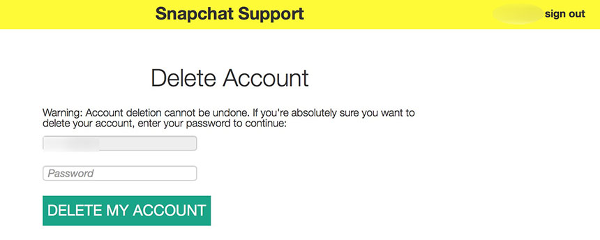 snapchat supprimer compte