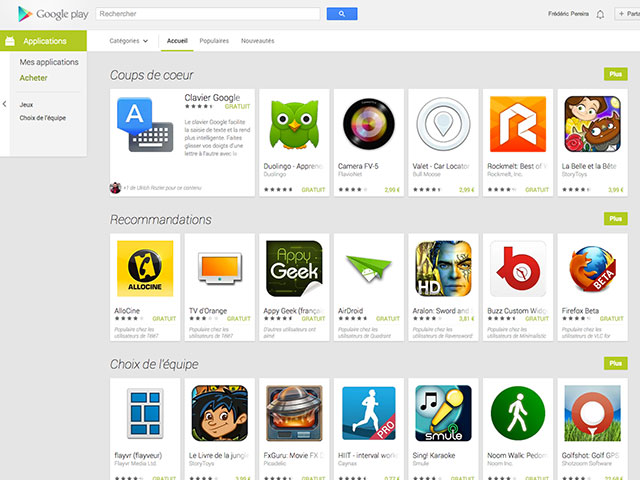 Google Play Store et ses applications