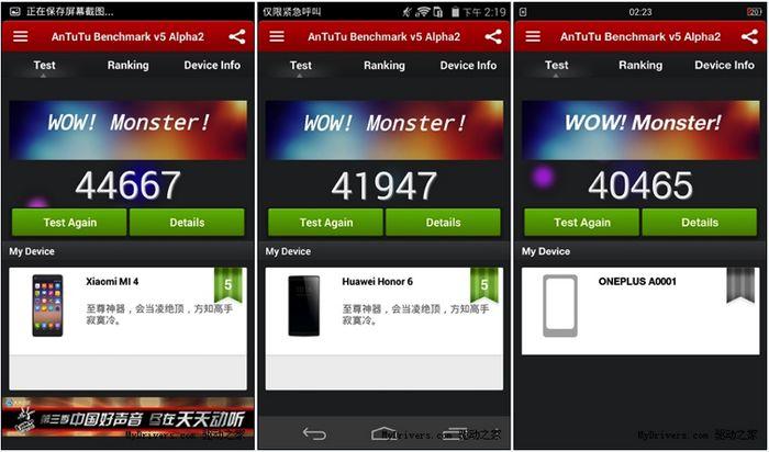 Xiami Mi4 OnePlus One Huawei honor 6