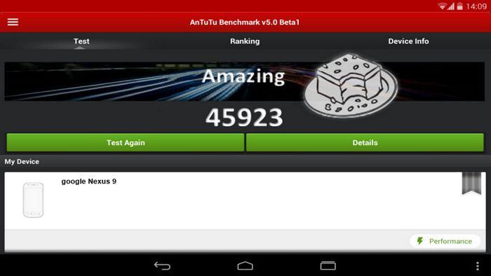 benchmark AnTuTu de la Nexus 9