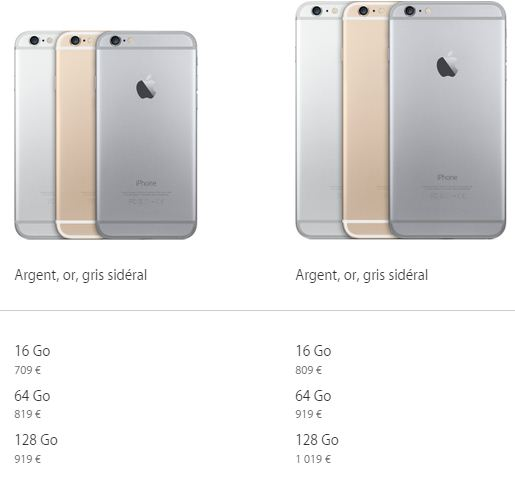 prix iPhone 6 et iPhone 6 Plus