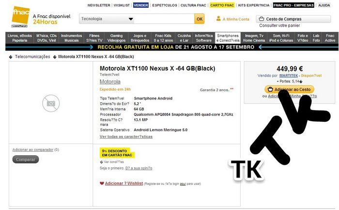 prix du Nexus X 64 Go
