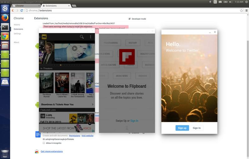 Lancement applications Android sous Windows, MacOS ou Linux