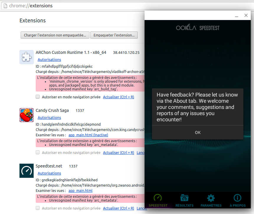 Applications Android sous Google Chrome