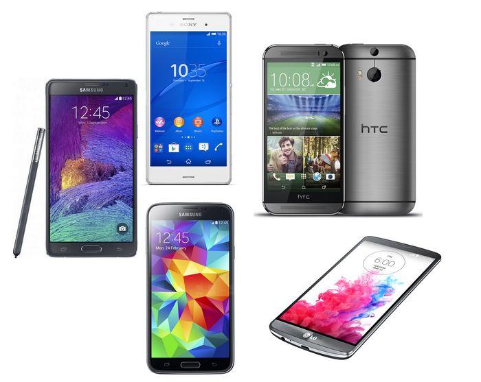 Comparatif Galaxy Note 4 Xperia Z3 LG G3 HTC One M8 Galaxy S5