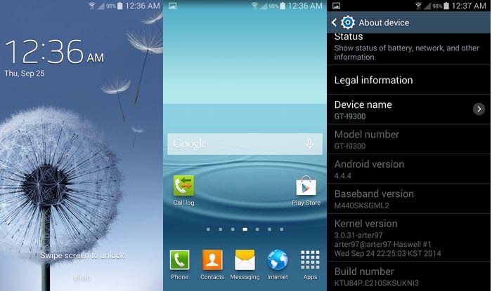 Mise à jour Android 4.4.4 KitKat du Galaxy S3.