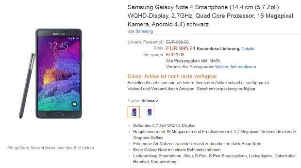 Galaxy Note 4 prix et précommande
