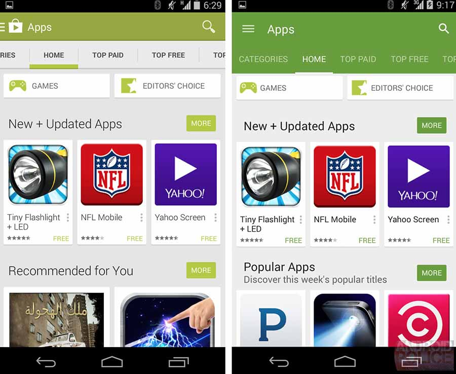 google play store nouveau design