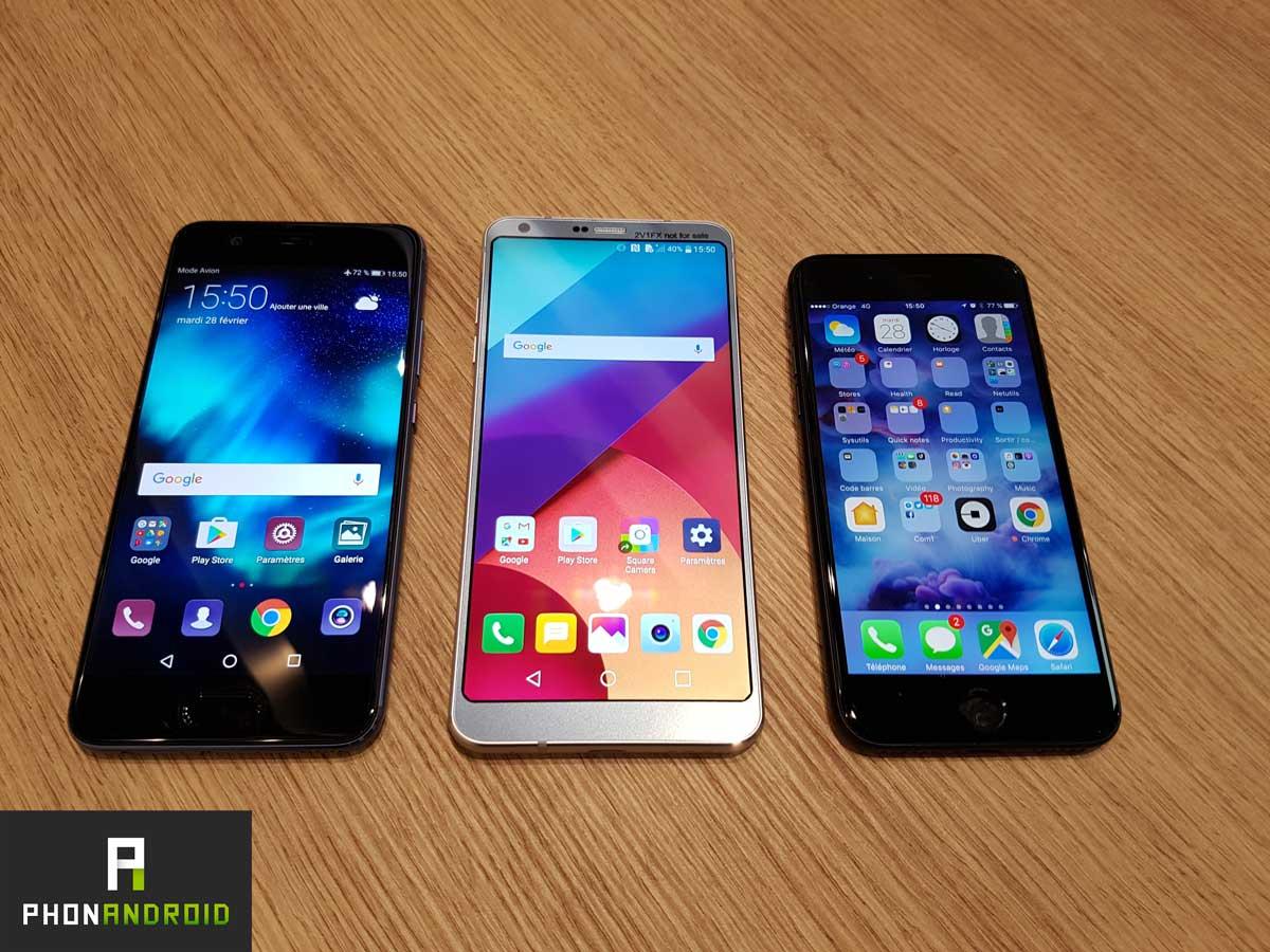 iphone 7vs lg g6 vs huawei p10